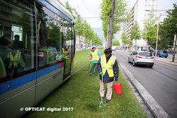 #photos Les voies du tram grenoblois propres grâce à un ESAT Isérois